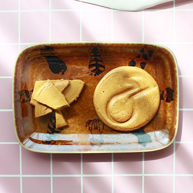 아이카 달고나 고양이 직사각 접시, 2개, 단품