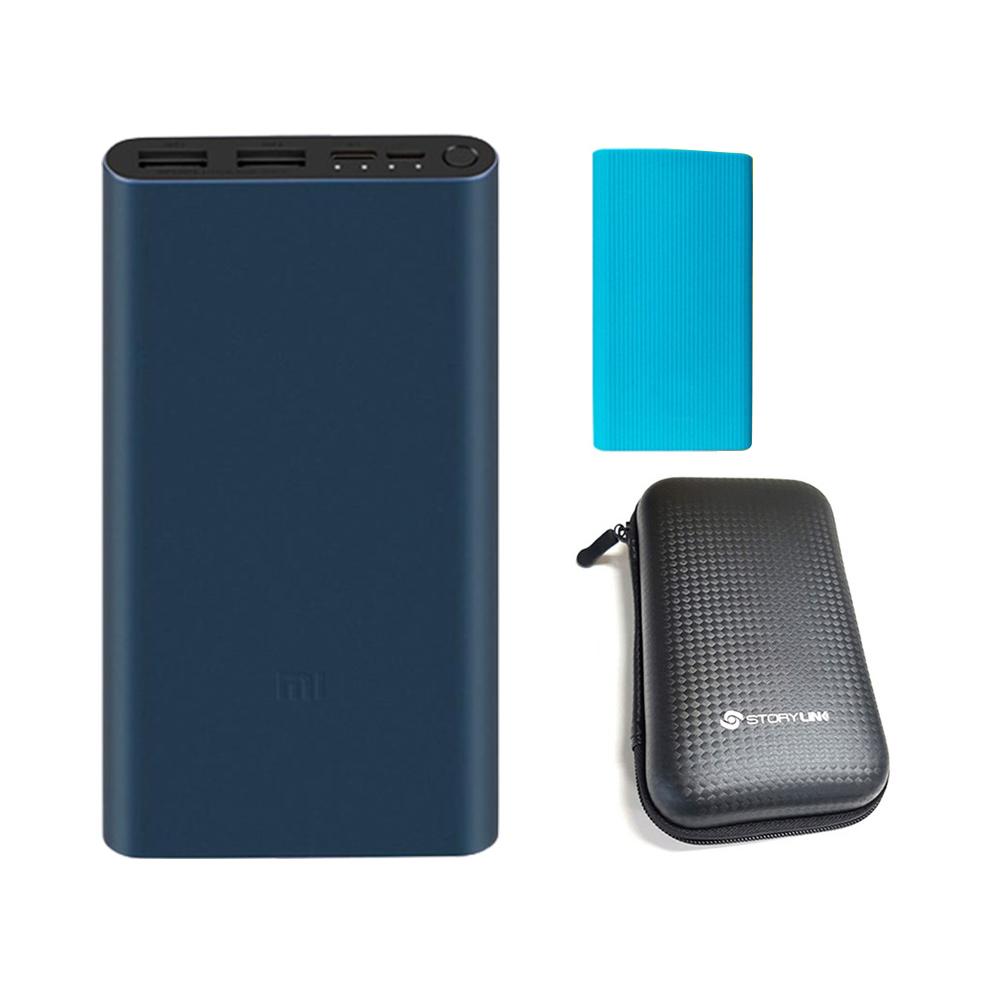샤오미 5세대 보조배터리 10000mAh 멀티단자 + 젤리 케이스 + 휴대용 하드 파우치, PLM13ZM, 배터리(다크네이비), 케이스(랜덤발송), 파우치(블랙)