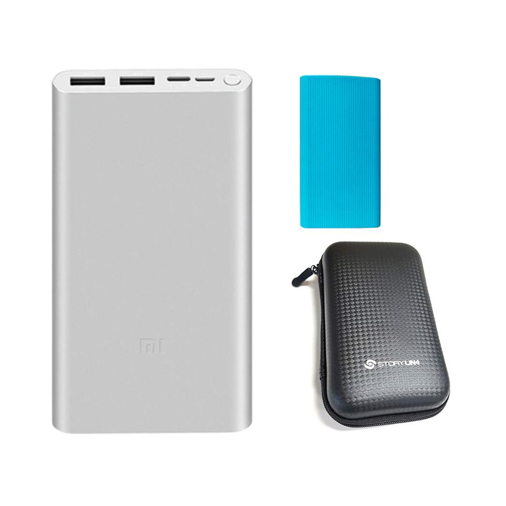 샤오미 5세대 보조배터리 10000mAh 멀티단자 + 젤리 케이스 + 휴대용 하드 파우치, PLM13ZM, 배터리(실버), 케이스(랜덤발송), 파우치(블랙)