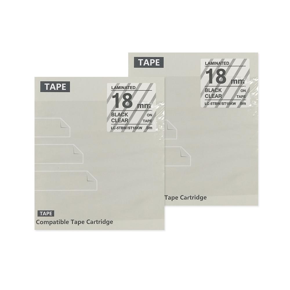 제이씨라인 엡손 호환 라벨테이프 ST18KW 18mm 2p, 투명바탕 + 검정글자
