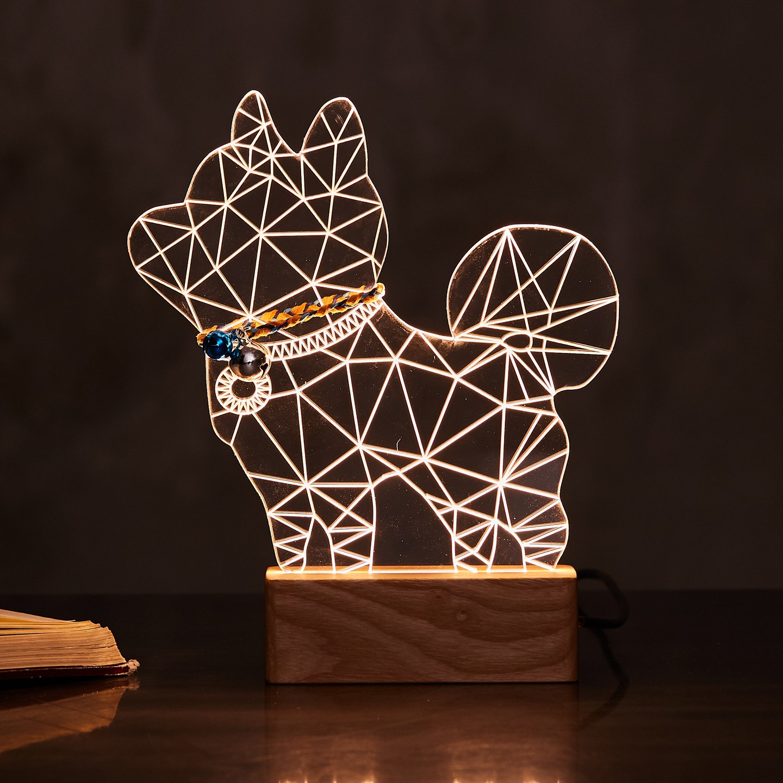 한땀한땀 수작업 LED 댕냥이 무드등 기본형 시바견