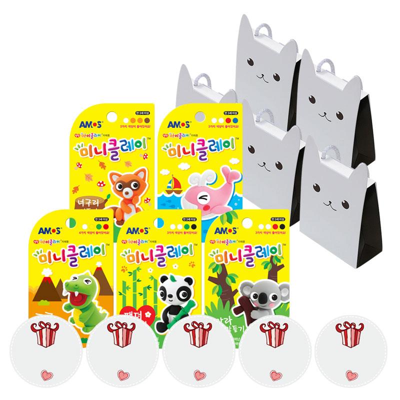 킨더맘 어린이집 생일선물 아모스 미니클레이 5종 + 끈 상자 5p + 스티커 5p 세트, 클레이(혼합색상), 상자(초코), 1세트