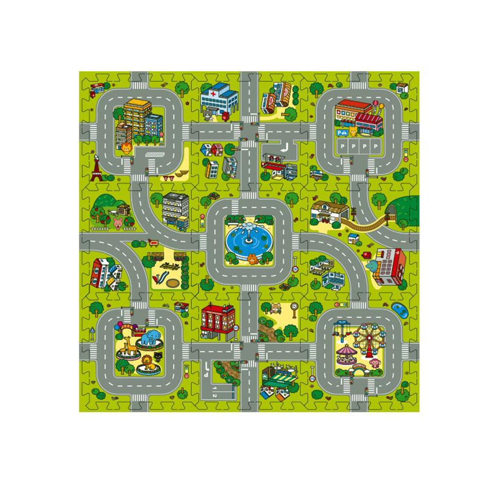 EVA 도로교통 자동차놀이 퍼즐매트 9p + 테두리 마감재 12p, 혼합색상