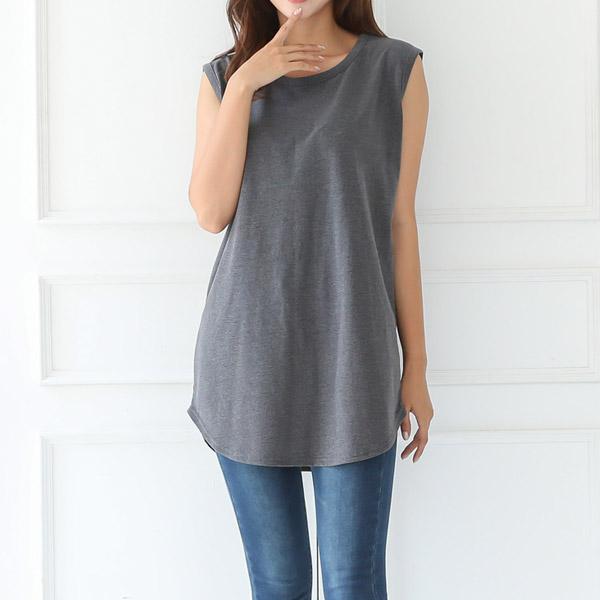 토마토팩토리 여성용 레이어드 롱 나시 티셔츠