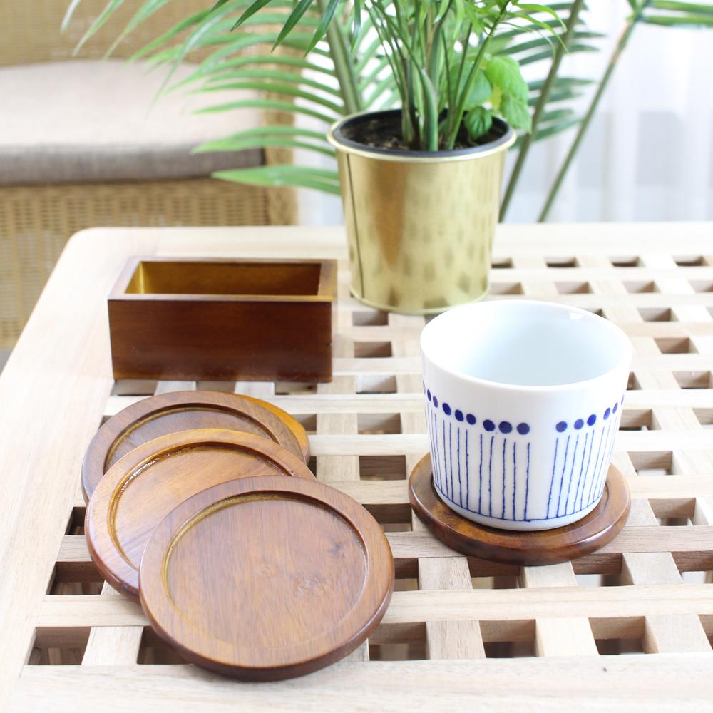 화인센스 장미목 원형 컵받침 5p + 케이스 세트