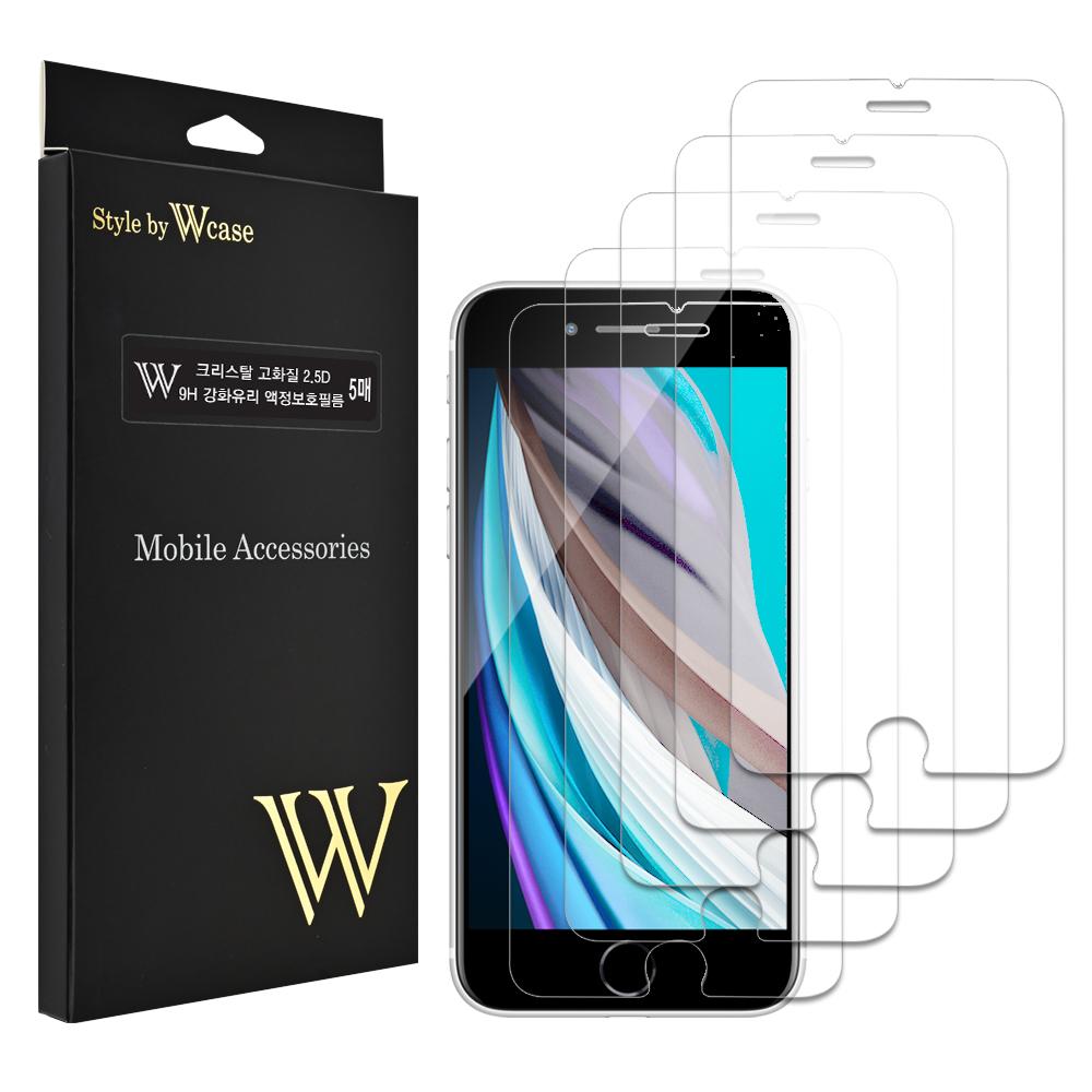 더블유케이스 크리스탈 2.5D 고화질 9H 강화유리 휴대폰 액정보호필름 5p, 1세트