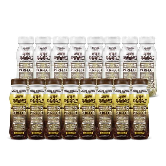 칼로바이 퍼펙트파워쉐이크 헬스 단백질 보충제 초코바나나 275ml x 8p + 바닐라 275ml x 8p 세트, 1세트