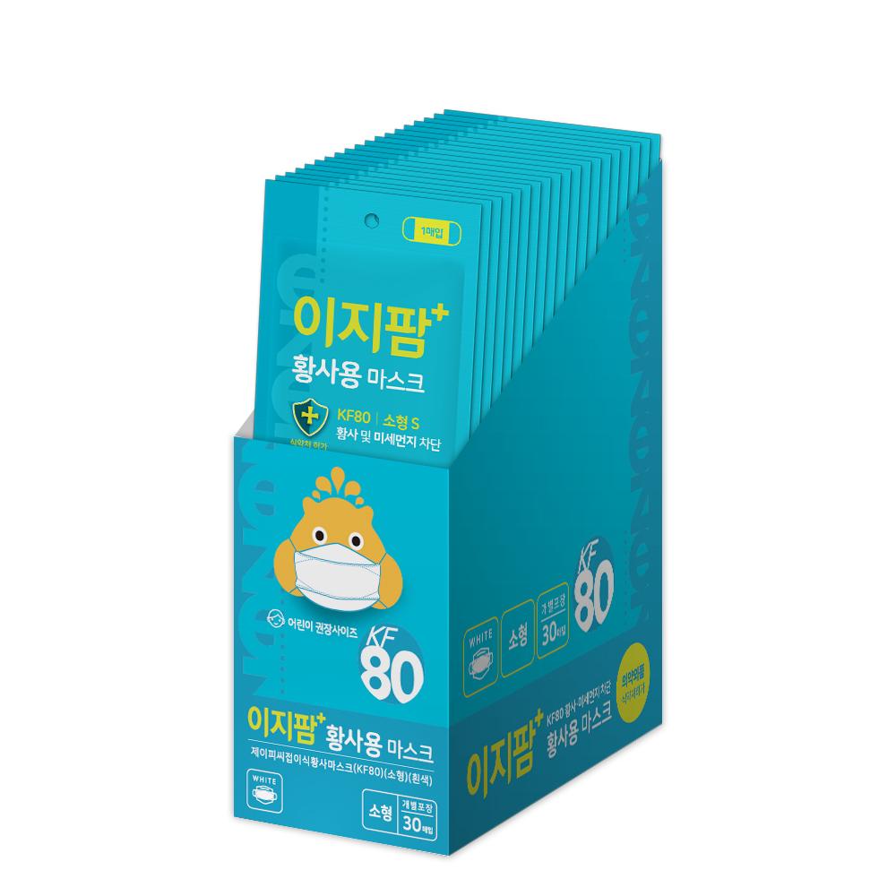 이지팜 황사 미세먼지 마스크 소형 KF80 흰색, 1개입, 30개