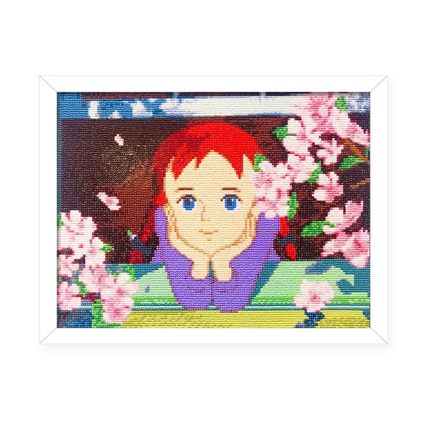 케이엠엘리 빨강머리앤 액자 DIY 보석십자수 세트 40 x 30 cm, 흩날리는 꽃, 1세트
