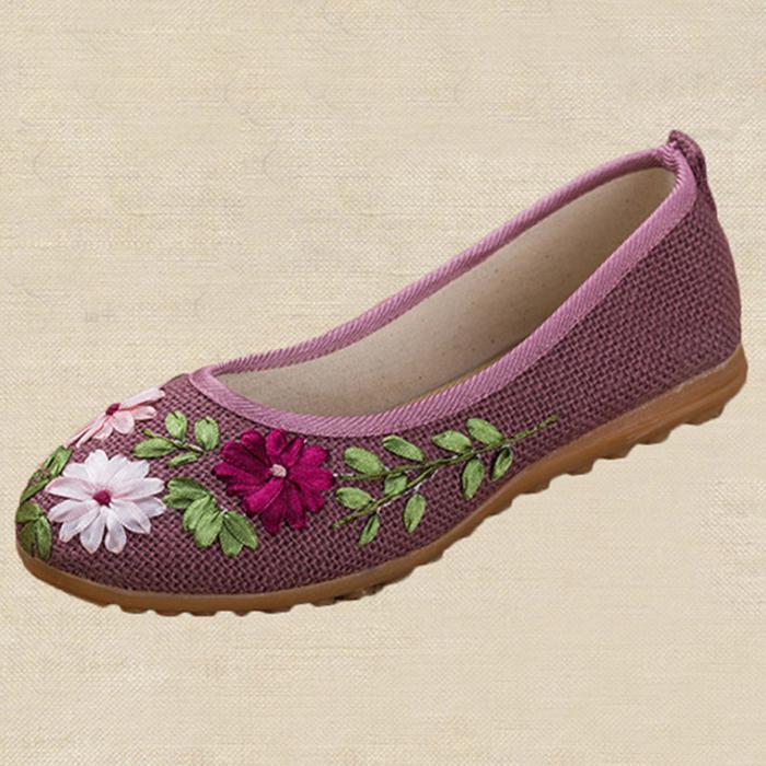올나인 여성용 플라워자수 한복 전통 신발