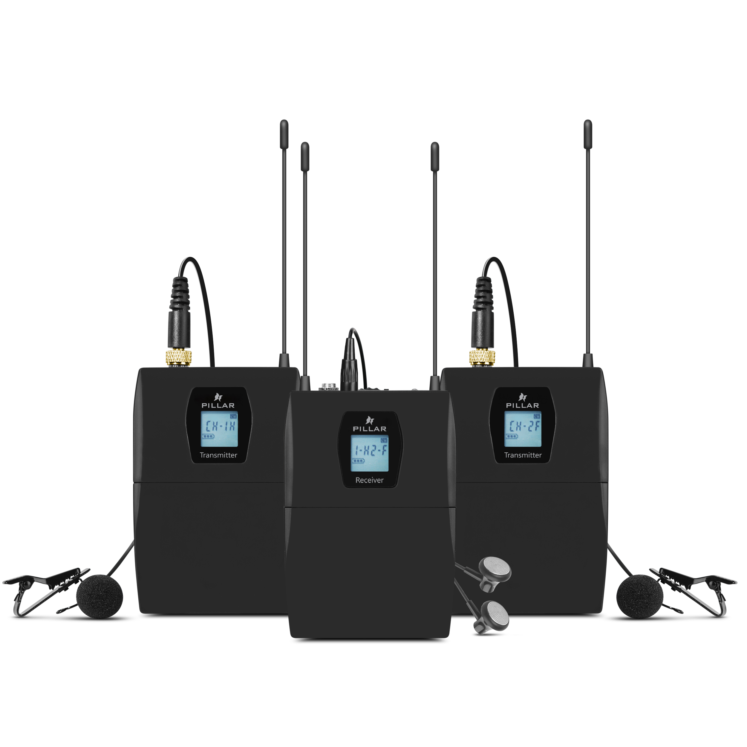 필라 UHF 듀얼 무선 핀마이크 송신기 2p + 수신기 세트, CM-WM03