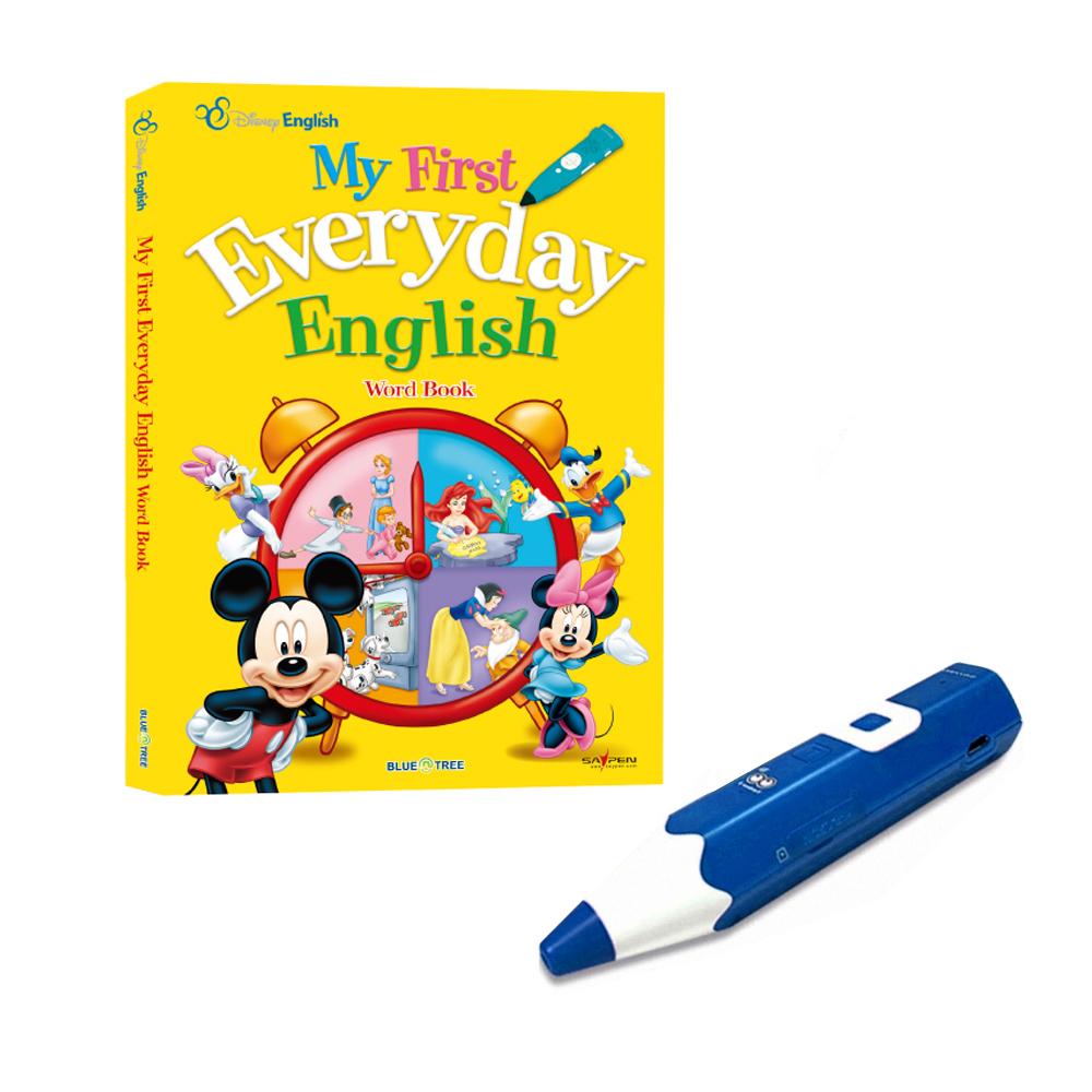 레인보우B세이펜 태극펜 64GB 블루 + 디즈니 생활 영어사전 My First Everyday EnGBlish Word Book 세트, 블루앤트리