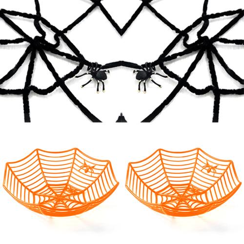 인디고샵 할로윈 파티소품 큰 거미줄 + 거미 2p + 오렌지 거미줄 바구니 2p 세트, 혼합색상, 1세트