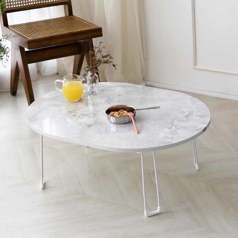 [주방 접이식 테이블] 레몬트리 LPM 심플 타원형 접이식테이블, 마블클래식 - 랭킹5위 (24800원)