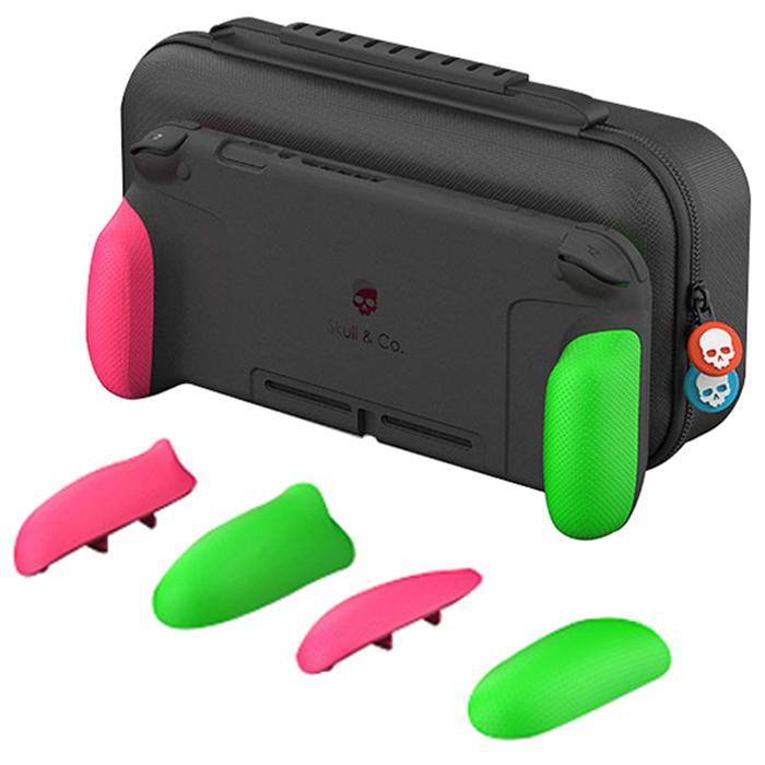 MAJENTA 스컬앤코 닌텐도 스위치 맥스캐리 파우치 + 그립케이스 세트 핑크 + 그린, 단일상품, 1세트