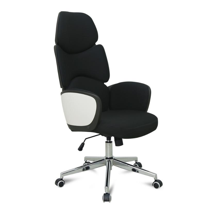 오피스엔홈 스페이스 유니크디자인 사무용 의자, 블랙 패브릭
