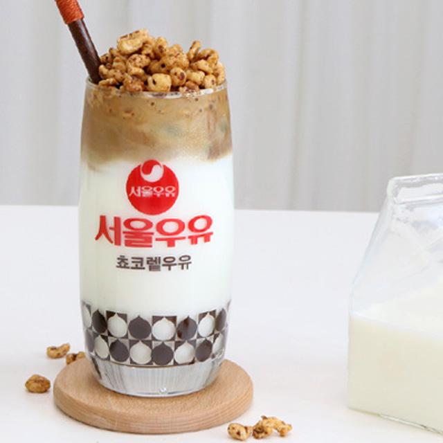 서울우유 레트로 글라스 커브 쵸코렡컵 370ml, 혼합색상, 1개