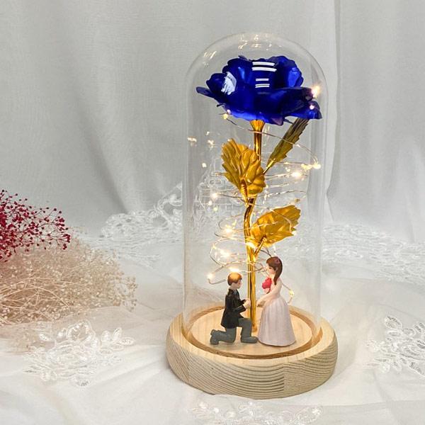 기념일선물 장미 프리저브드 유리돔 무드등 신랑신부, 블루