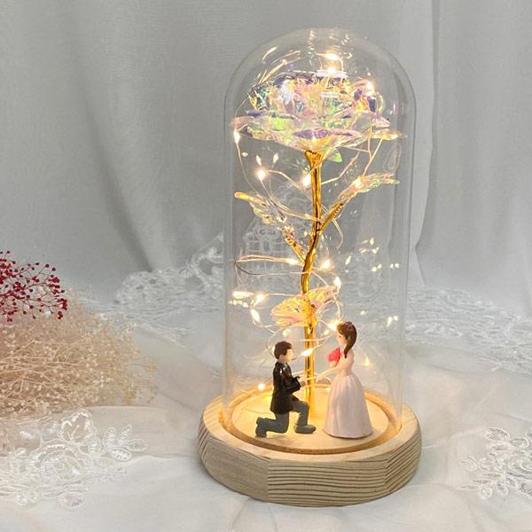 기념일선물 장미 프리저브드 유리돔 무드등 신랑신부, 홀로그램