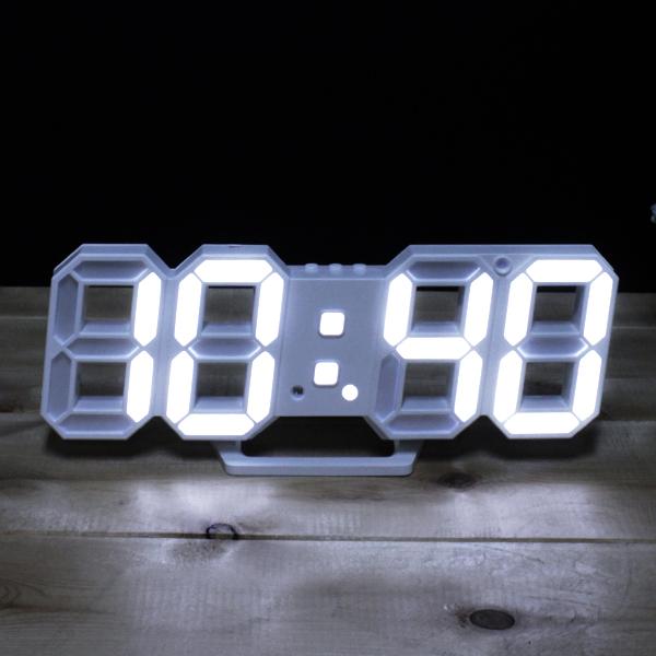 모가비 3D LED 디지털 시계 MOG-037, 화이트