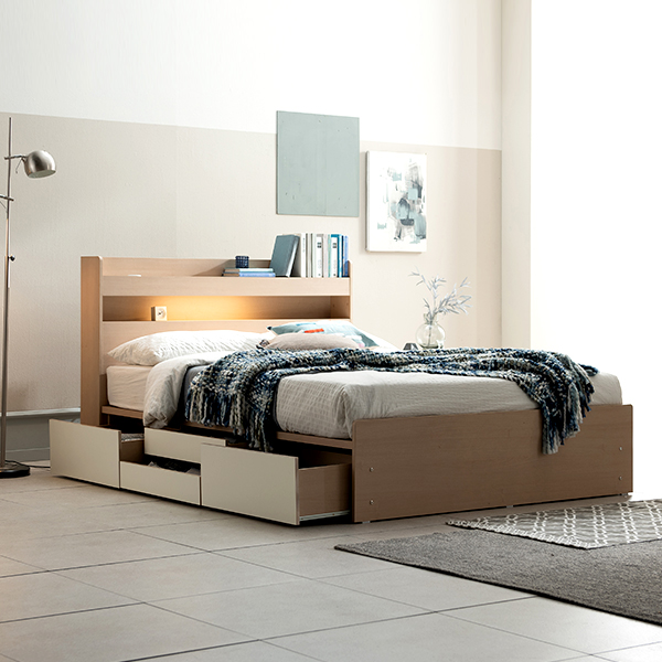 삼익가구 브린디 LED 빅서랍 4단 수납침대 방문설치, 오크+화이트