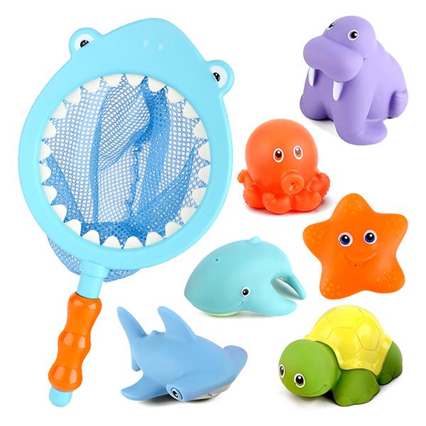 레츠토이 상어와 바다친구들 목욕놀이완구 7종 세트, 혼합색상
