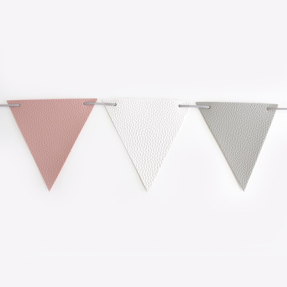 소이믹스 삼각 플래그 가죽 가랜드, B 핑크 + 화이트 + 그레이
