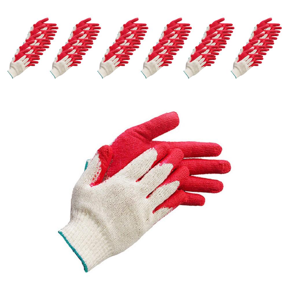 고급 반 이중 코팅 면 목장갑 L-3, 적색(초록띠), 100세트