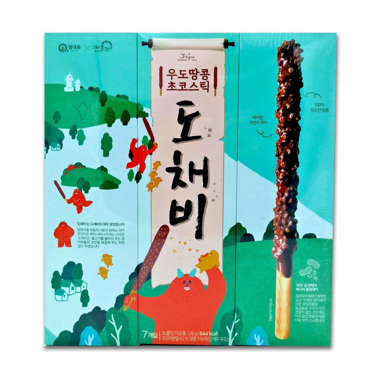 필내음 제주 우도땅콩 초코스틱 도채비, 126g, 3개