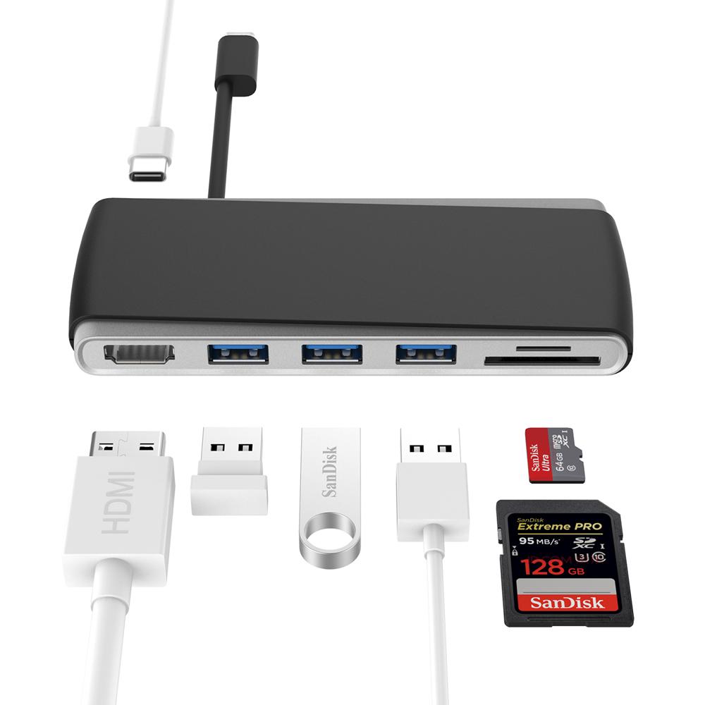 무아스 C타입 USB허브 P1 HDMI + SD + micro SD + USB 3포트 + 충전, MHHUB-P1, 그레이