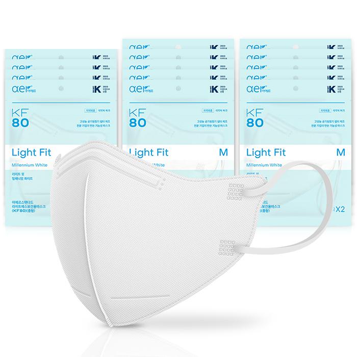 아에르 라이트핏 보건용 마스크 중형 KF80, 2개입, 15개