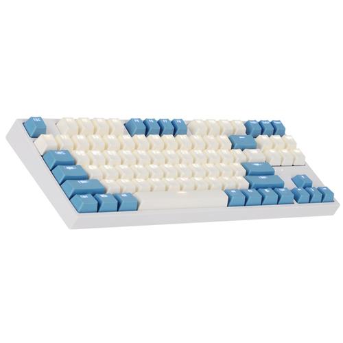 COX 게이트론 LED 게이밍 기계식 키보드 청축, CK87, 크림블루
