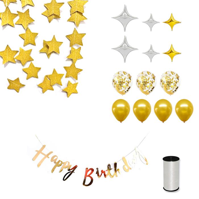 와우파티코리아 다이아 생일축하 풍선세트, 혼합색상, 1세트