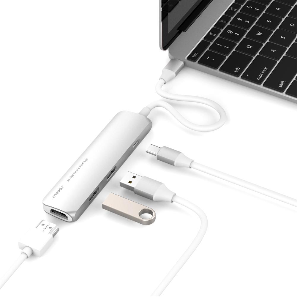 무아스 C타입 USB허브 A1 HDMI + USB 2포트 + 충전 MHHUB-A1, 실버