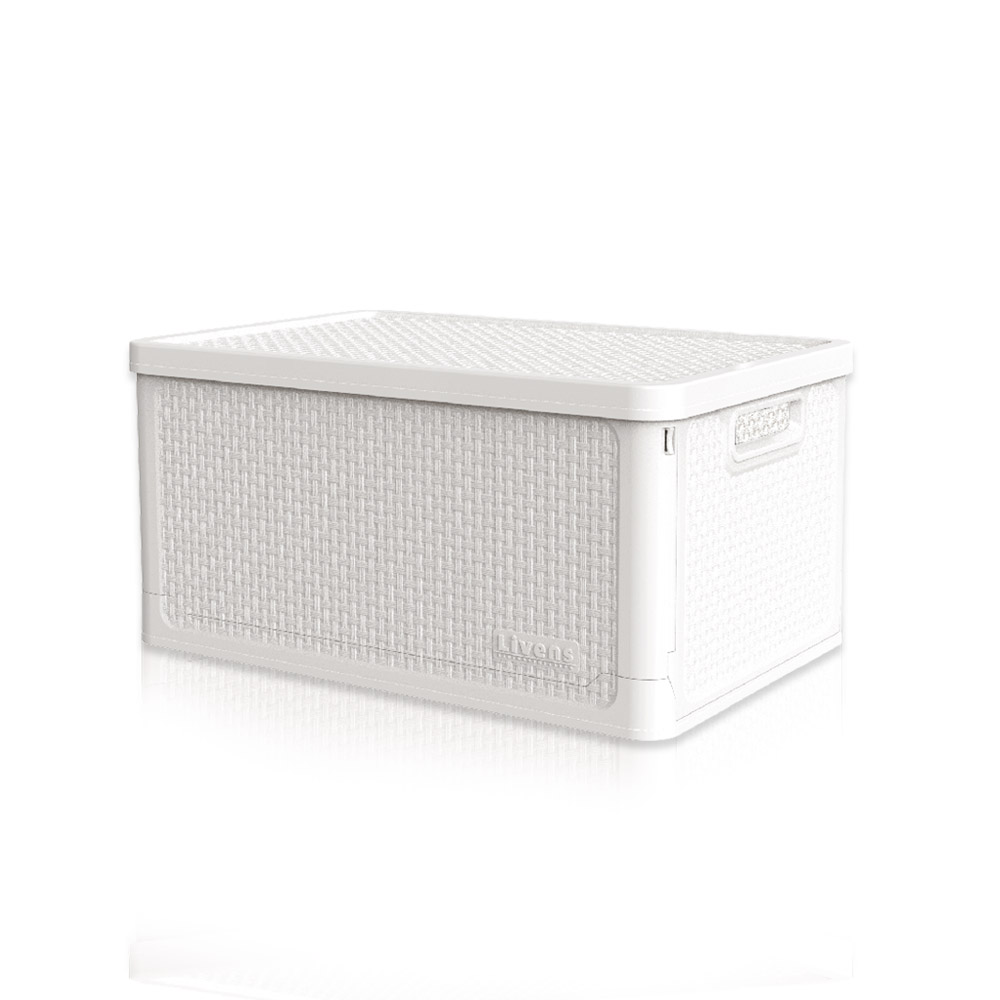 리벤스 적층형 폴딩 리빙 수납 박스 28L, 화이트, 1개