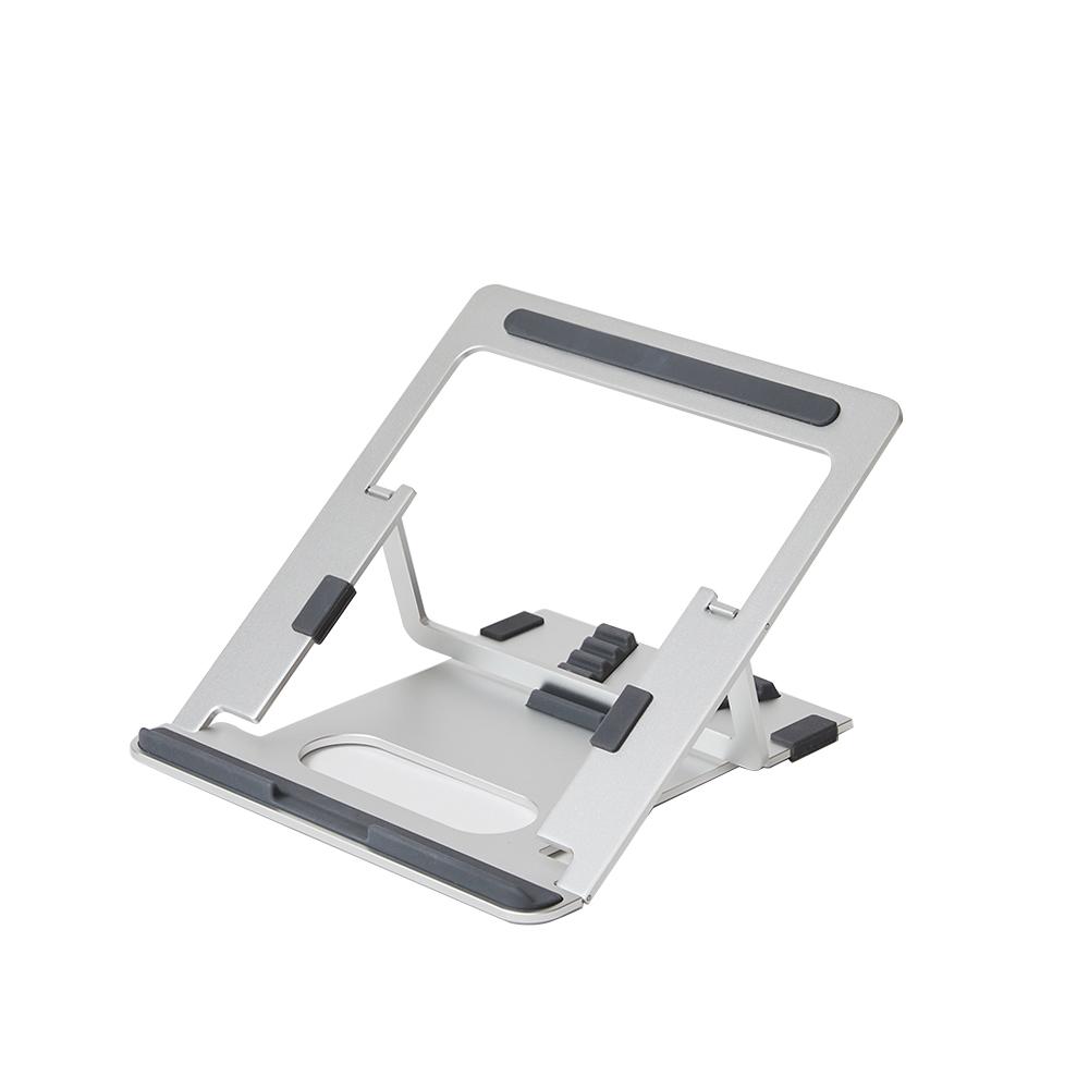파우트 휴대용 접이식 알루미늄 노트북 거치대 EYES3 ANGLE + 휴대용 파우치, 실버