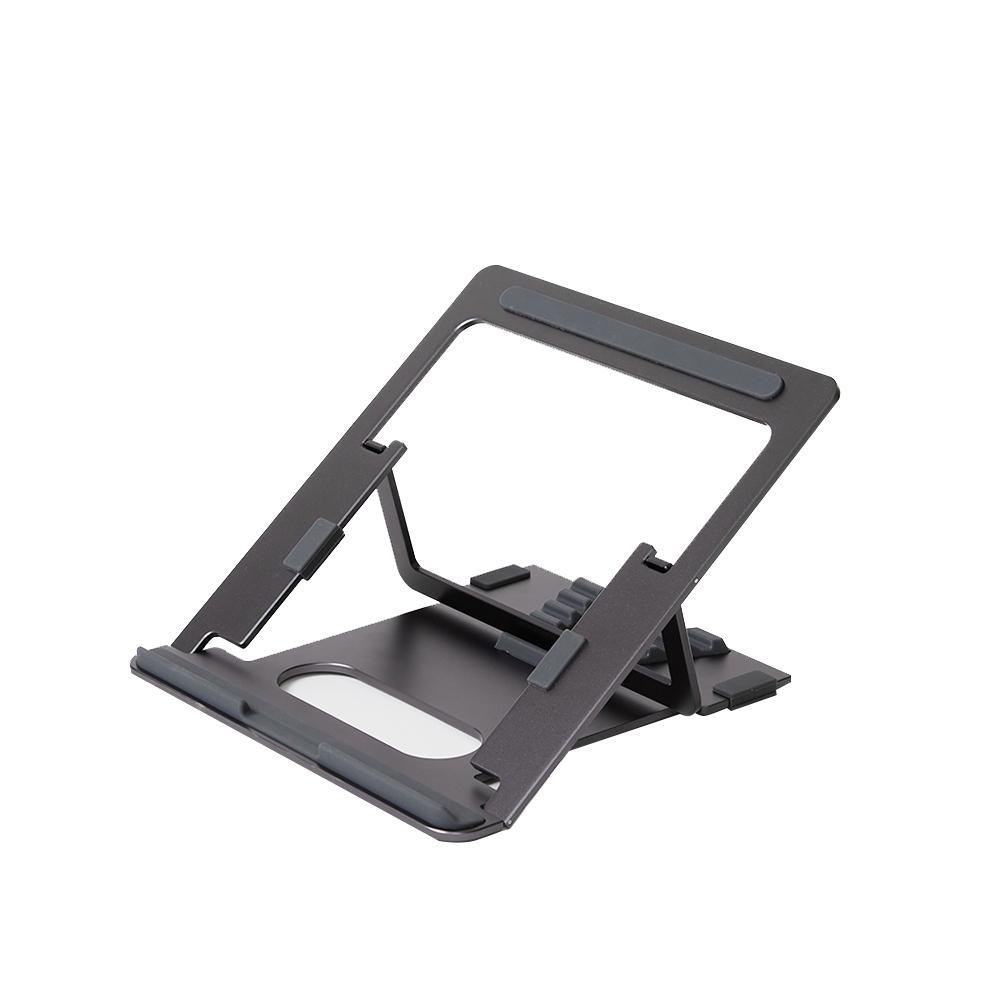 파우트 휴대용 접이식 알루미늄 노트북 거치대 EYES3 ANGLE + 휴대용 파우치, 그레이