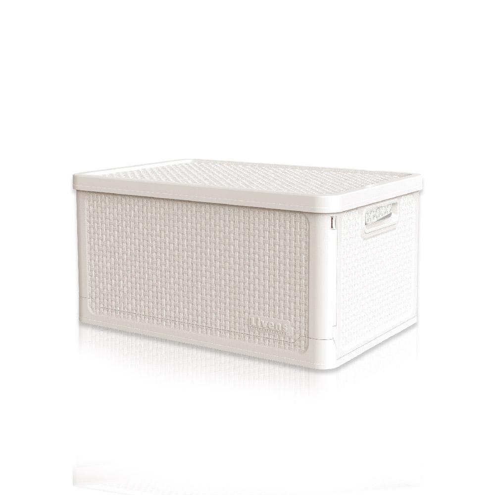 리벤스 적층형 폴딩 리빙 수납 박스 28L, 아이보리, 1개