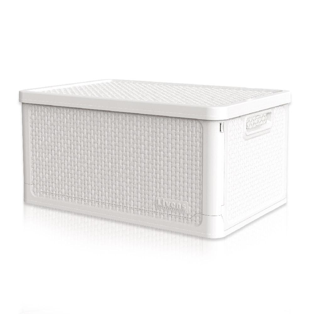 리벤스 적층형 폴딩 리빙 수납 박스 50L, 화이트, 1개