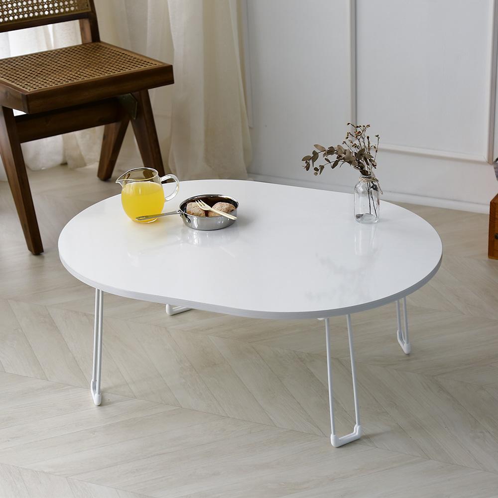레몬트리 LPM 심플 타원형 접이식 테이블, 화이트
