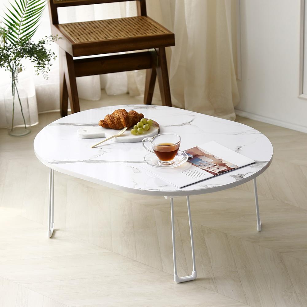 레몬트리 LPM 심플 타원형 접이식 테이블, 마블화이트