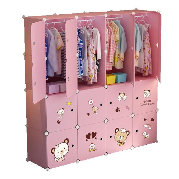 가팡 유아 거실 침실 귀여운 옷장 V, 핑크