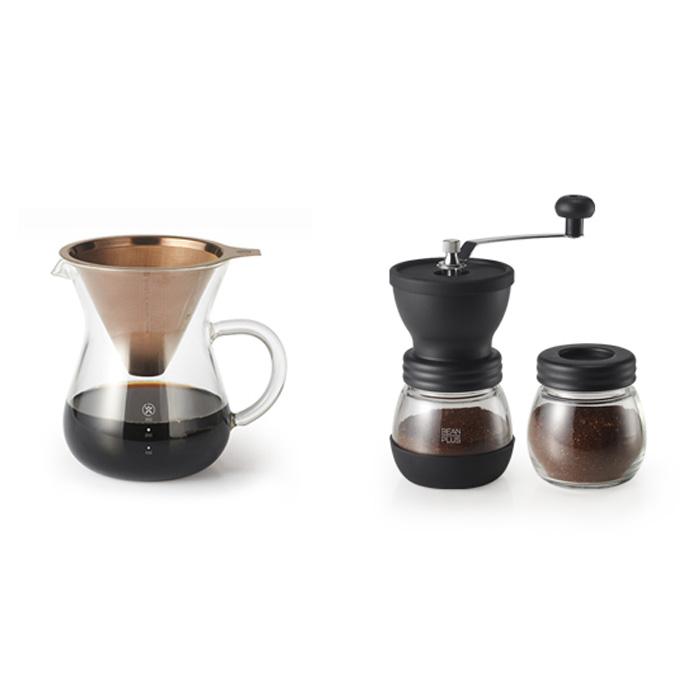 빈플러스 핸드드립 CF03 + 핸드밀 커피 CM03 세트, 혼합색상, 1세트