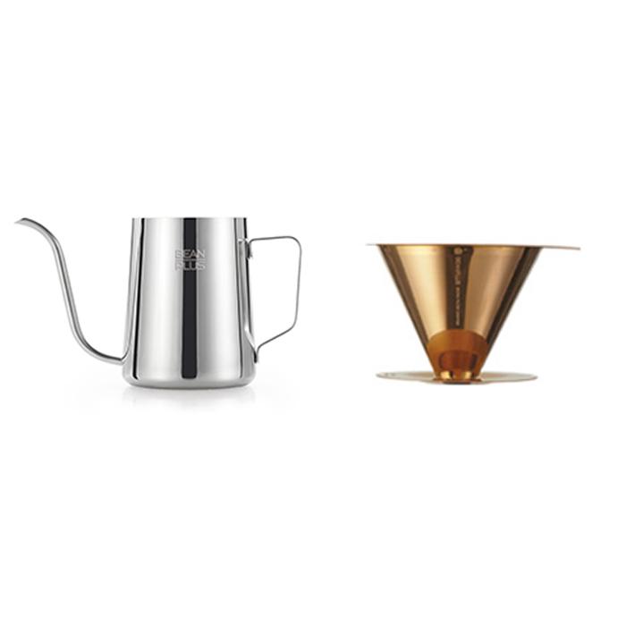 빈플러스 티타늄 코팅 커피 드리퍼 + 스텐 드립포트 350ml 세트, 혼합색상, 1세트