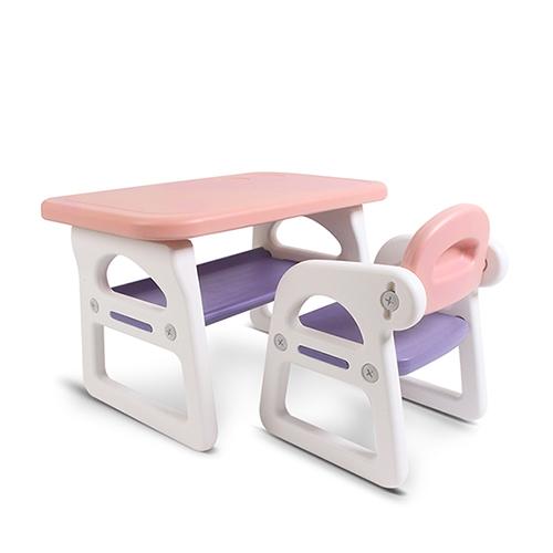 베이블퓨어리 프리미엄 스마트 유아 책상 + 의자 세트, 베이직(베이비핑크 + 퍼플)
