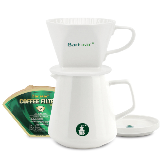 바리스타 자기 핸드드립 커피서버 600ml + 드리퍼 + 여과지 세트 BDN2, 혼합색상, 1세트