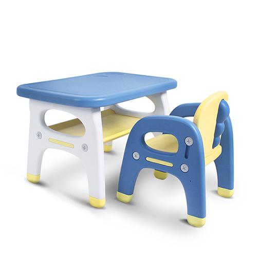 베이블퓨어리 프리미엄 스마트 유아 책상 + 의자 세트, 쥬라기(옐로우 + 블루)
