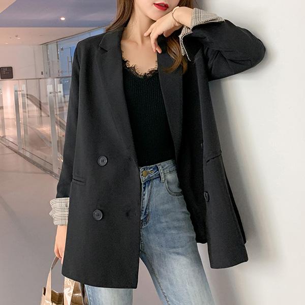 루나걸 여성용 베르트 체크 소매 더블 자켓