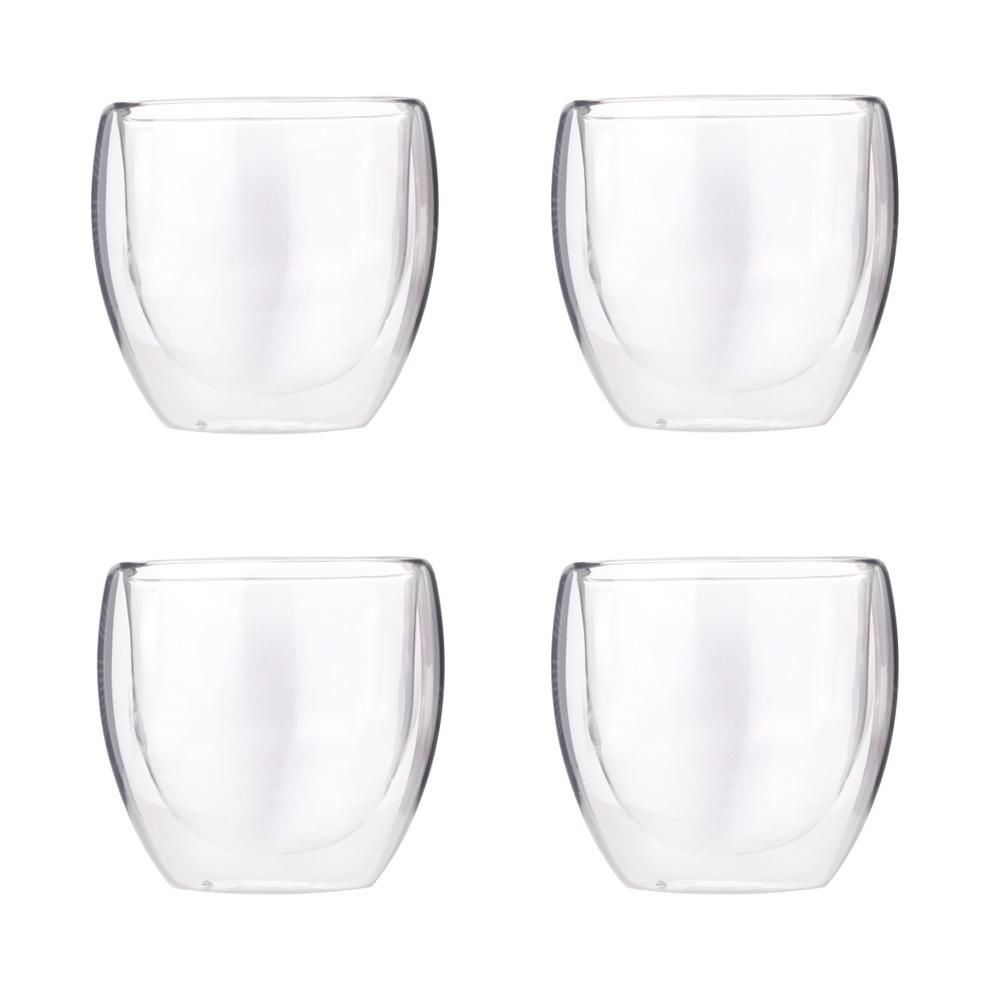 더블 라운지 글라스 컵 250ml, 단일색상, 4개