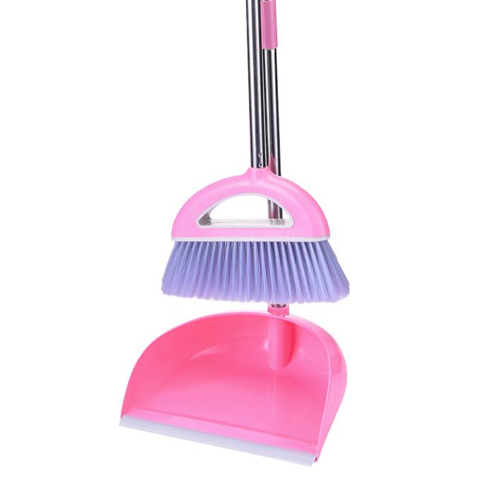 베이직 빗자루 쓰레받이 세트 핑크, 1세트